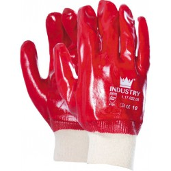 Handschoen PVC rood met...